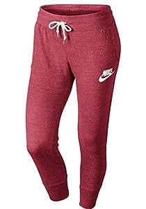 Nike Damen Jogginghose Gym Vintage Capri Pants, Rot, S