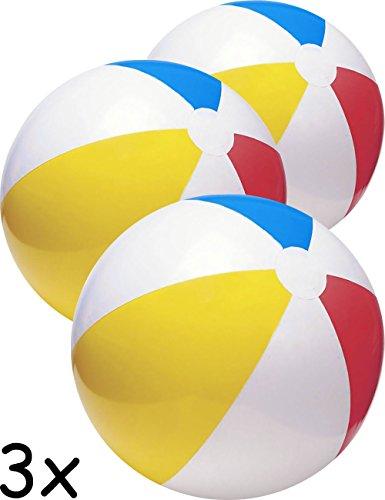 HomeTools.eu® - 3X Bade-Ball | Strand-Ball, Wasser-Ball, Beach-Ball, Bade-Bälle, | aufblasbar, Bunt, 50cm | 3er Familien Set (Bälle Strand Aufblasbare)