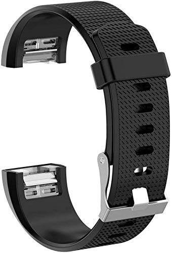 ACUTAS Silicone Band Strap for Fitbit Charge 2 / Fitbit Charge 2 HR (Size : Large) (Black)