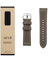AVI-8 AV-STRAP24-L03 - Correa para reloj de hombre, piel, 24 cm, color verde