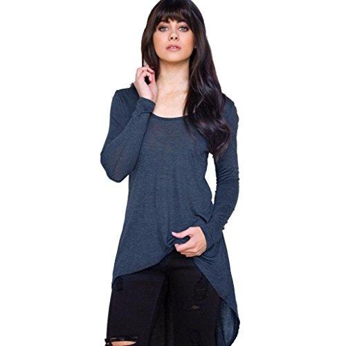 DOLDOA Frauen Unregelmäßiges lose langes Hülsen-beiläufiges Hemd Oberseiten Blusen Oberseiten T-Shirt (Größe: 44 Fehlschlag: 98cm / 38.6, Marine) (Damen Jrs-socken)