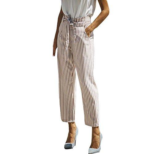 YWLINK Damen Elegant BeiläUfige Hohe Taille Streifen Verband Mode Verband Breite Bein Hosen(S,Khaki)