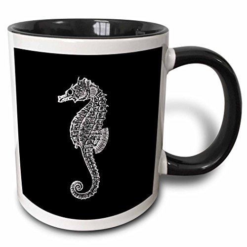 Print. Sea Horse. Ocean Marine Beach Aquarium Aquatic-Two Ton Tasse, Keramik, Schwarz, 10,2 x 7,62 x 9,52 cm ()