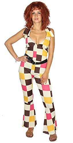 Kostüm Disco Sexy Jumpsuit - Foxxeo 70er 80er Disco Kostüm Jumpsuit für Damen - Größe XS bis XL - Sexy Damenkostüm Overall Fasching Karneval Größe XL