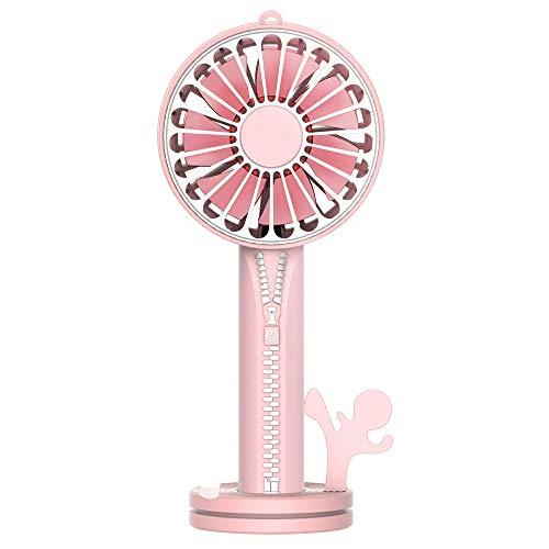 zx zxyUsb-Handheld Fan Kosmetik Spiegel Portable Externe Halterung Basis Geräuschlos rosa