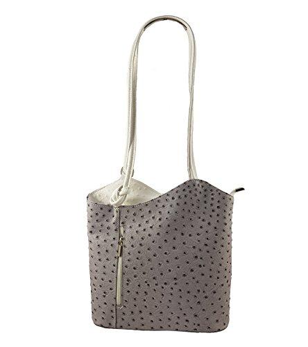 2 in 1 Handtasche Rucksack Designer Luxus Henkeltasche aus Echtleder in versch. Designs (Strauß (Handtaschen Designer)