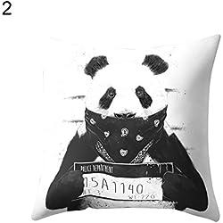 Oso Panda animales sofá manta funda de almohada Funda para cojín funda de almohada de decoración para el hogar, 2#, talla única
