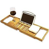 Bandeja de Baño de bambú Premium de Harcas. Magnífica Bandeja de Bañera extensible con soporte para copa de vino y soporte para iPad / reposa libros. Perfecto para relajarse mientras esta en la bañera
