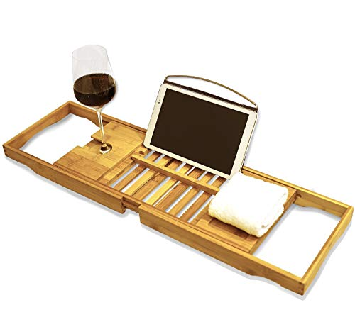 Price comparison product image Premium Bamboo Bath Tray Rack by Harcas. Gorgeous Extendable Bathtub Caddy with Wine Glass Holder and iPad Holder / Book Rest. Perfect for Relaxing While Winding Down For The Day. Fits Most Bathtubs