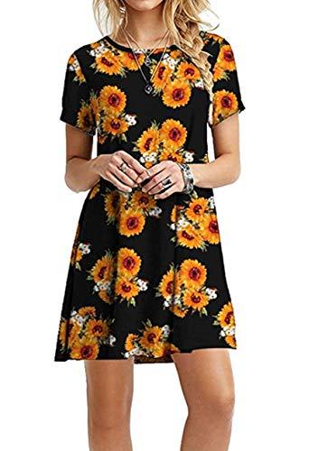 OMZIN Damen Tunika Shirtkleid Kleid Große Kurzes Größe Kleid Mini Longshirt Sommerkleid Plus Größe,Schwarze Sonnenblume,3XL -