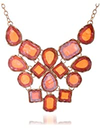 Curvy Fashion Orange & Gold Alloy Strand Necklace For Women (CQF001)