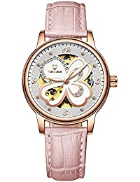 c7f7da30367 TEVISE Women Automatic Mechanical Watch Time Moon Phase Display Fashion  Casual Luminous Hands Leather Strap Life Waterproof Female…
