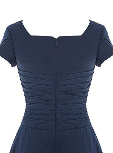 Fanciest Damen Scoop Kurz Ball Kleider with Sleeves Party Kleider Royal Blue Blush
