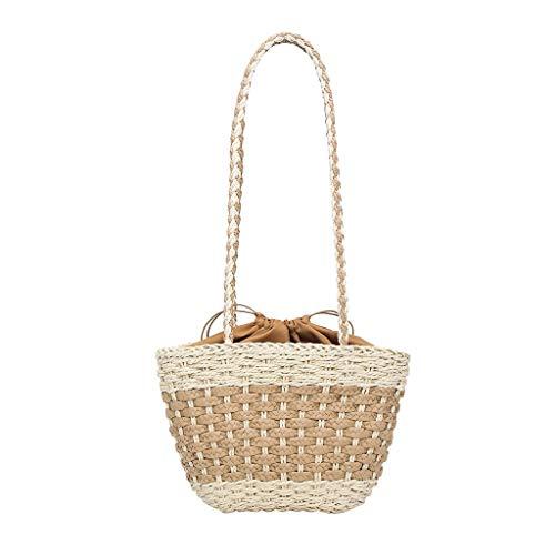 Dkings Handwoven Rattan Bag für Frauen Handmade Bucket Bag Schulter Stroh Tasche Crossbody Geldbörse -