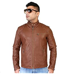 Caveliro Men's Tan Slant Zip Pocket Faux Leather Biker Jacket