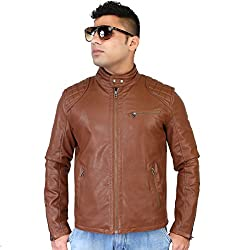 Caveliro Mens Tan Slant Zip Pocket Faux Leather Biker Jacket