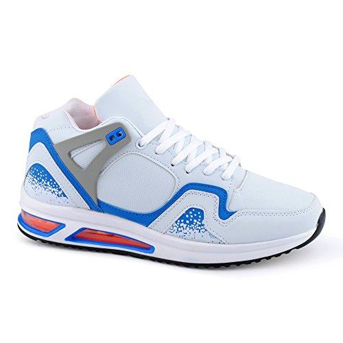 Herren Damen Sportschuhe High Top Sneaker Mehrfarbig Basketball Freizeit Unisex Schuhe Weiss/Blau-M