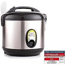 Klarstein Sapporohervidor de arroz (400 W, 1 litro, incluye recipiente antiadherente, cuchara para servir y vaso medidor, función de mantenimiento del calor, acero inoxidable, accesorios)