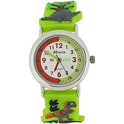 Ravel Time Teacher Boys 3D Jungle Design Strap Watch +Telling Time Award