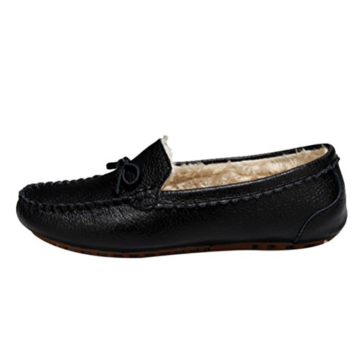 Vogstyle Ladies Casual Shoes New Mocassino Pantofola Stile Foderato Caldo 1 Nero