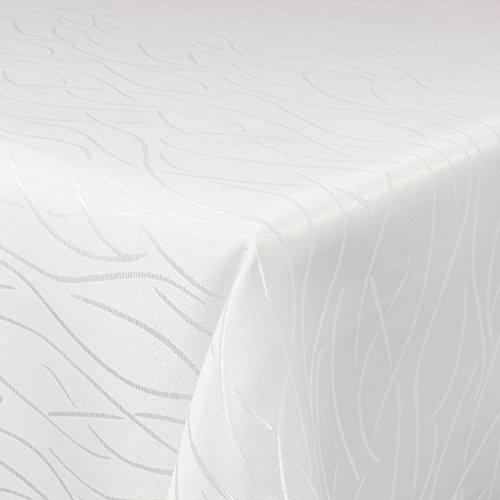 Tischdecke Damast Streifen 160x320cm eckig Weiss
