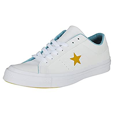Converse Chucks 160593C One Star OX Leder Weiss Weiss Leder Weiß Mineral Yellow ed5622
