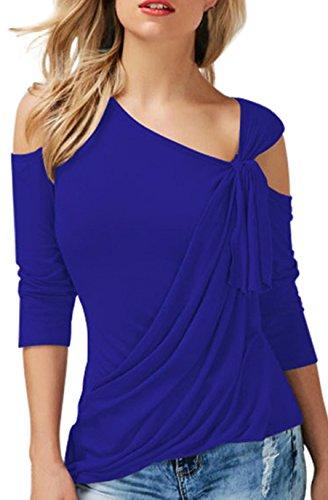 Moda Maniche a 3/4 Asimmetrico Drappeggiate Drappeggio Nodo sul Davanti Spalle Scoperte T-Shirt Maglietta Tee Top Blu