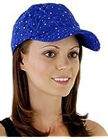 Glitzy Game Crystal Sequin Trim Women's Adjustable Glitter Baseball Cap Hat ROYAL BLUE