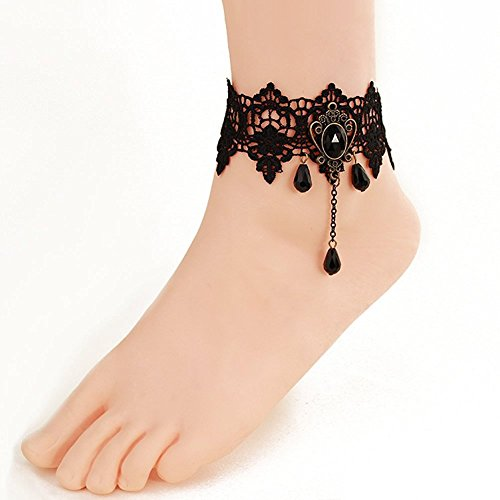Singapur Kostüm Schmuck - Art und Weise handgemachtes Fertigkeit-romantisches schönes Spitze-Fußkettchen-reizvolles Rhinestone-barfuß-Knöchel-Armband-Fuß-Schmucksache-Schwarzes