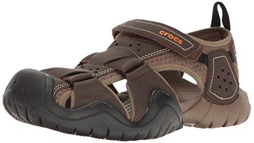 crocs Mens Swiftwater Leather Fisherman M Flat Sandal Espresso/Walnut
