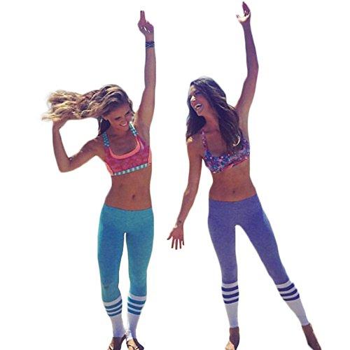 GITVIENAR Legging Stretch Coton Pantalon Slim Sport Moulant Femme Imprimé Collage pour Yoga Danse Gymnastique Jogging Violet