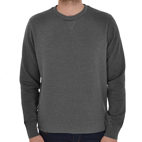Brave Soul Mens Jonesk Crew Neck Sweatshirt Jumper Dark Charcoal Marl -Large