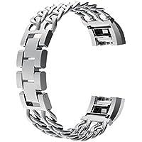Wearlizer metal Watch cinturino di ricambio per Fitbit Charge 2–piccolo argento