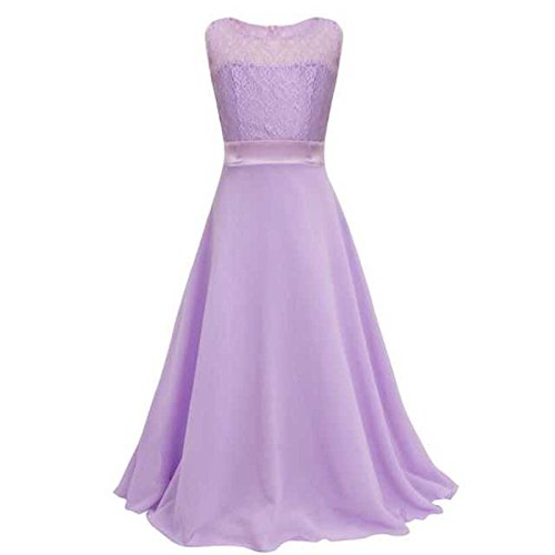 Live It Style It Girls Long Lace Dress Chiffon Gown Floor Length Dress Wedding Bridesmaid Flower
