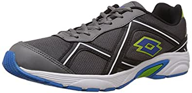 Lotto Men's Zest Grey, Black and Lime Mesh Running Shoes - 6 UK/India (40 EU)