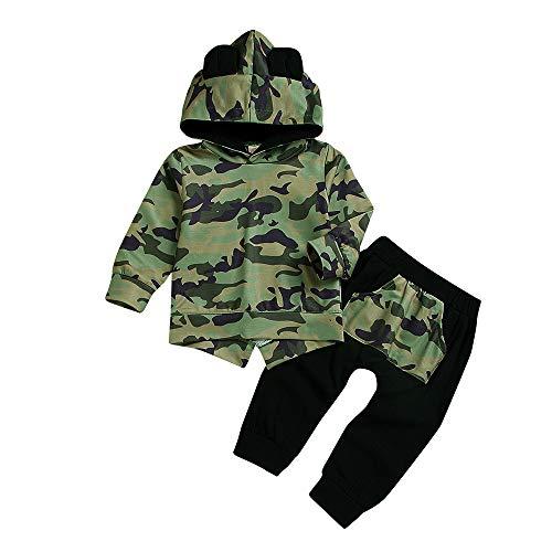 TPulling Baby Kind Boy Jungen Mädchen Hoodie Cartoon Ohren Camouflage Sweatshirt Tops Hosen Stoff Sets Weihnachten Sankt Schneemann-Kostüm Pyjamas Weihnachten