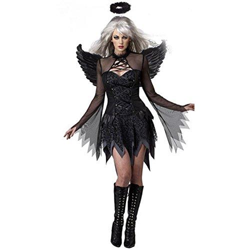 Fancyland Damen Engel Hexe Cosplay Kostüm Kleid Fasching Gothic Schwarz Karneval Halloween Allerheiligen (Gothic Dark Angel Kostüm)