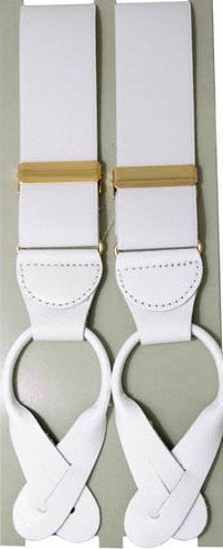 Danza accessori–Frac: bretelle per bottoni Luxus, bianco