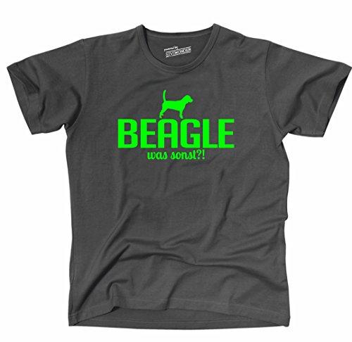 Siviwonder Unisex T-Shirt BEAGLE WAS SONST?! Wilsigns Hunde Hund fun dark grey - neon grün