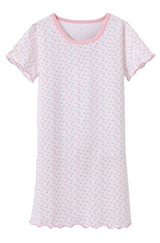 ABClothing Nachthemd Nachthemd Mädchen niedlich Herz gedruckt Schlaf Shirt weichen bequemen Nachtwäsche Nachthemd Pyjamas Weiß 8-9 Jahre alt Tag 140 (Nachthemd Kurzarm Mädchen)