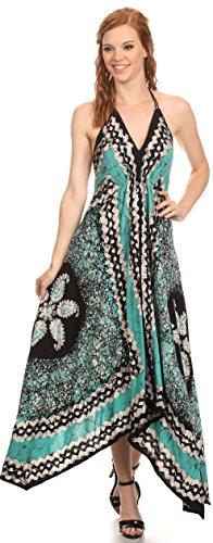 Sakkas Aleayma bretelles longue perle réglable brodé Dyed Halter Top Dress Menthe