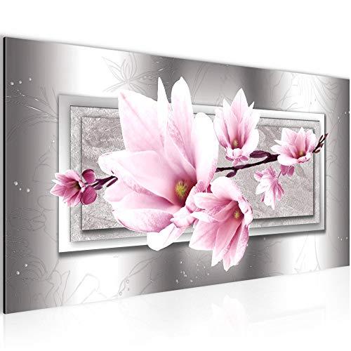 Photo Fleurs magnolias Décoration Murale 100 x 40 cm Toison - Toile Taille XXL Salon Appartement Décoration Photos d'art Rose 1 parties - 100% MADE IN GERMANY - prêt à accrocher 205712b