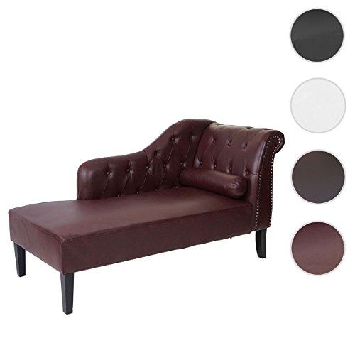 Mendler divano angolare recamiere classico stile vittoriano chesterfield ecopelle 76x156x89cm bordeaux