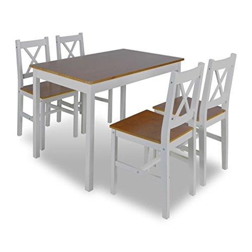 Fesjoy Sala da Pranzo 5 Pezzi Set da tavola e sedie Tavolo di Legno ...