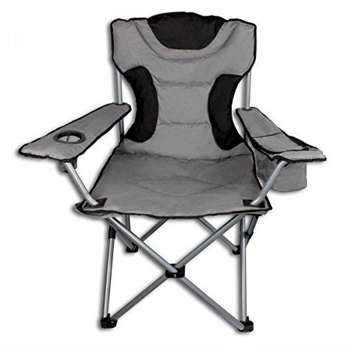 Campingstuhl XL mit Getränkehalter und Kühltasche - Anglerstuhl Faltstuhl Angelstuhl Klappstuhl grau/schwarz