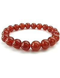KONOV Joyería Pulsera de hombre mujer, Natural Cristal de Roca Bola, 10mm Ágata Ónix, Color rojo (con bolsa de regalo)