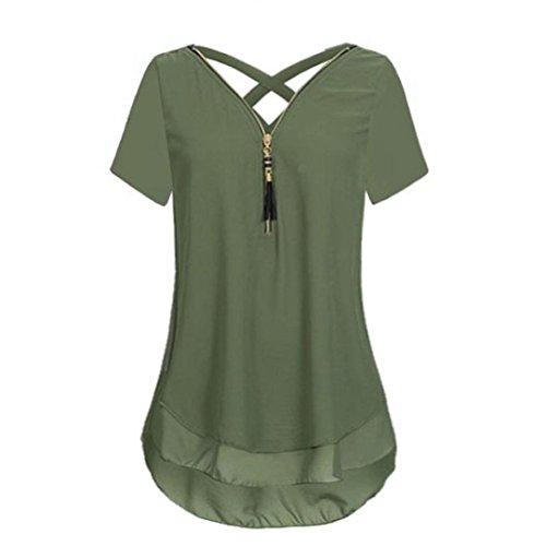 TITIU Damen Lose Chiffon Kurzarm Tank V-Ausschnitt Reißverschluss Hem Scoop T-Shirts Tops Bluse Oberteil Tees(Army Green,EU/38-CN/S) (Army T-shirt Green Tee)