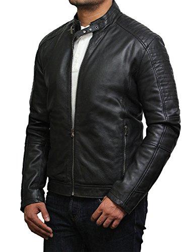 Brandslock Veste de moto en cuir perlée vintage noir Noir