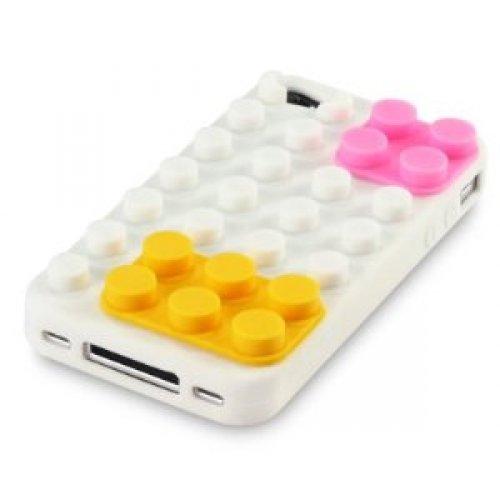 OnlineBestDigital - iPhone 4S / iPhone 4 Style brique Etui silicone / Couverture / Shell - Noir avec Bleu et Orange Blanc