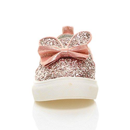 Mädchen Flach Glitzern Funkeln Schleife Hasenohren Turnschuhe Sneaker Größe Pink Glitzer